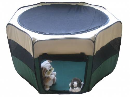 Green 8-Panel Pet Exercise Play Pen with Zippers