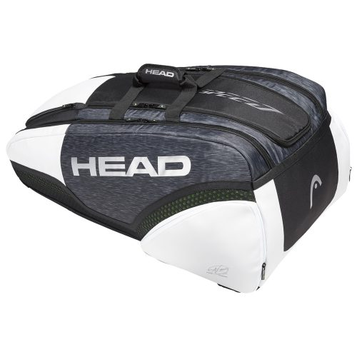 HEAD Djokovic 12 Racquet Monstercombi Bag Black/White: HEAD Tennis Bags