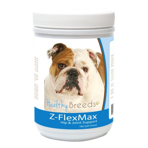 Healthy Breeds 840235156352 Bulldog Z-Flex Max Dog Hip & Joint Support - 180 Count