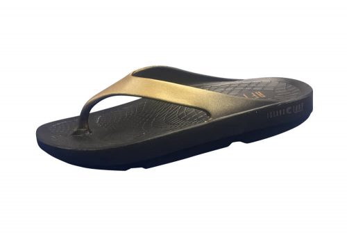 Island Surf Company Wave Sandals - Women's - black/gold, 10