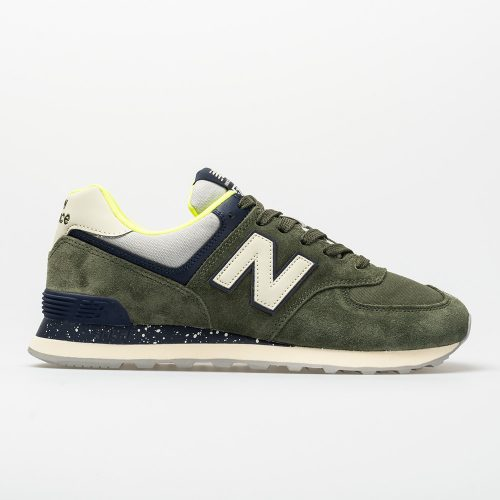 New Balance 574 Hi-Vis: New Balance Men's Running Shoes Dark Covert Green/Pigment