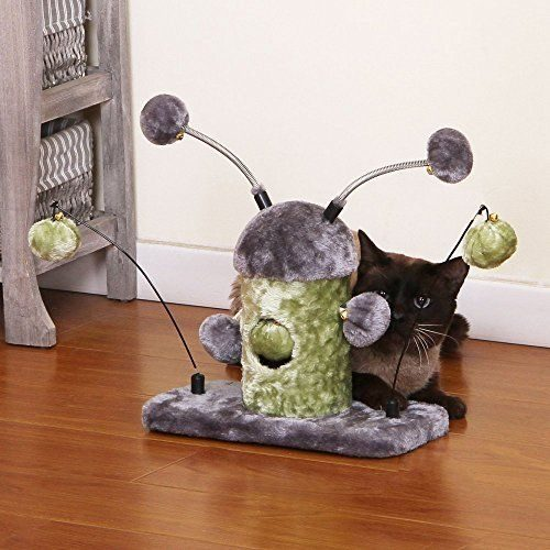 PetPals Group PP5463 One Size Stumpy Two Teaser Balls with Dangling Fun Toy Sage