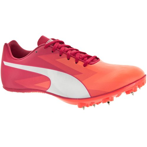Puma evoSPEED Sprint V6: PUMA Women's Running Shoes Fluo Peach/White/Rose Red
