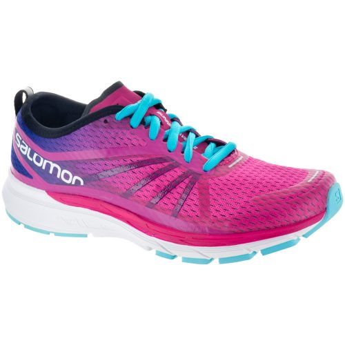 Salomon Sonic RA Pro: Salomon Women's Running Shoes Pink Yarrow/Surf The Web/Blue Curacao