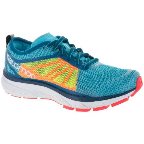 Salomon Sonic RA: Salomon Women's Running Shoes Blue Curacao/Safety Yellow/Fiery Coral