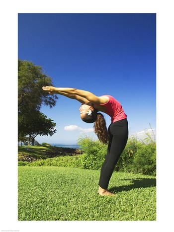 Side profile of a young woman exercising Maui Hawaii USA -18 x 24- Poster Print