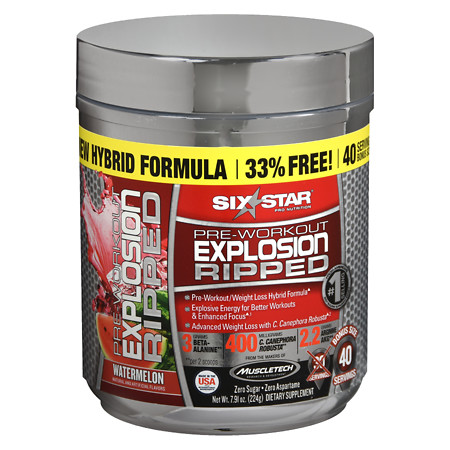 Six Star Pre-Workout Explosion Powder Pink Watermelon - 9.6 oz.