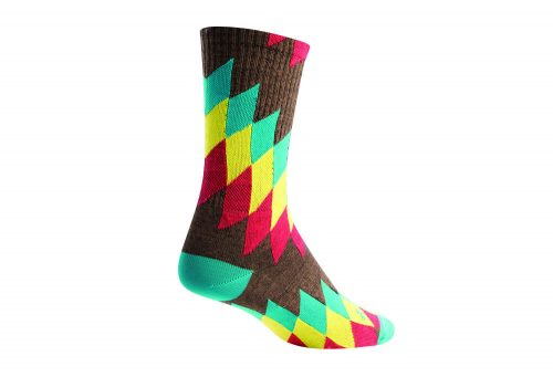 "Sock Guy Chief 6"" Wool Crew Socks - brown/multi, l/xl"