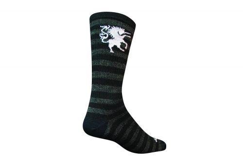 "Sock Guy Medieval Unicorn 6"" Wool Crew Socks - black/grey, l/xl"