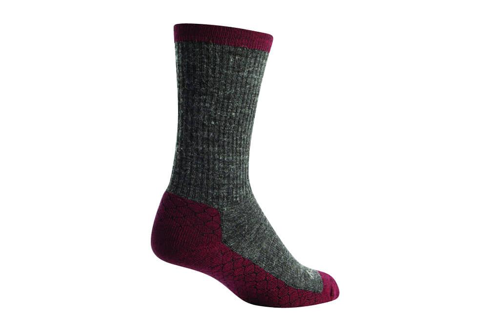 "Sock Guy Rubino Wooligan 6"" Crew Socks - grey/brown, l/xl"