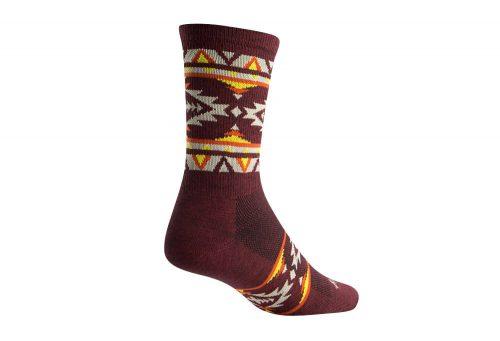 "Sock Guy Tribe 6"" Wool Crew Socks - brown/multi, l/xl"