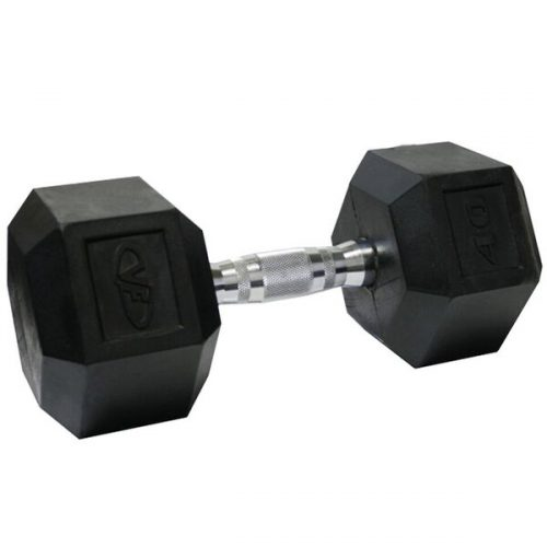 Valor Fitness RH-40 40 lbs. Rubber Hex Dumbbell single