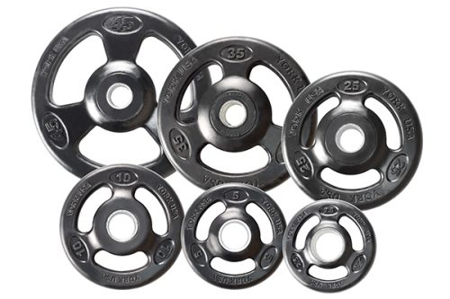 York Barbell 29064 Grip Urethane Encased Olympic Plates- Black - 35 lbs