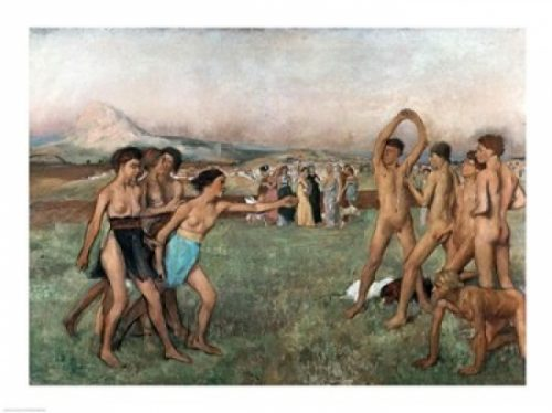 Young Spartans Exercising C.1860 Poster Print by Edgar Degas - 24 x 18 in.