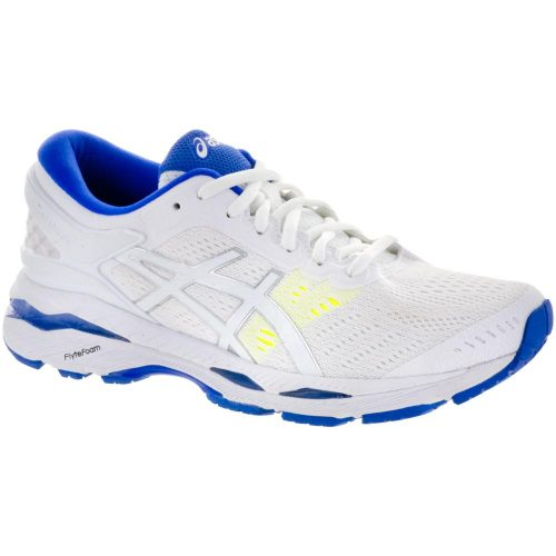 ASICS GEL-Kayano 24: ASICS Women's Running Shoes White/Blue Purple/Safety Yellow