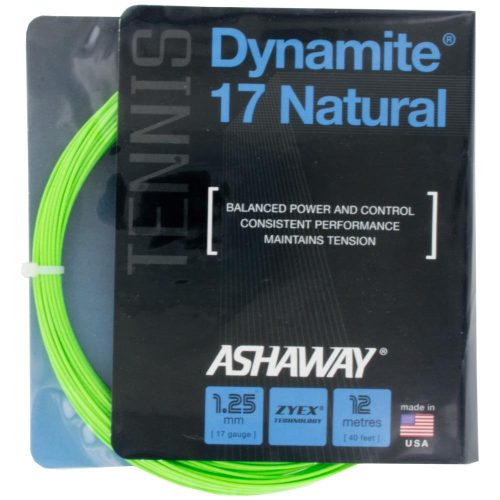 Ashaway Dynamite 17 Natural Optic Green: Ashaway Tennis String Packages