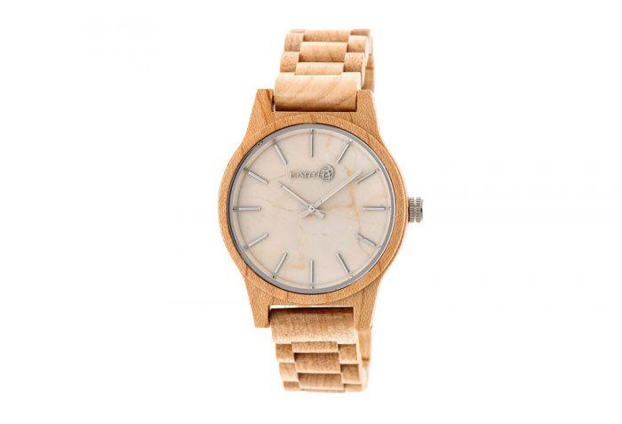 Earth Wood Tuckahoe Watch - khaki & tan wood, one size