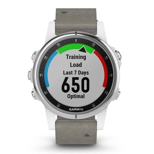 Garmin fenix 5S Plus Sapphire White with Gray Suede Band: Garmin GPS Watches