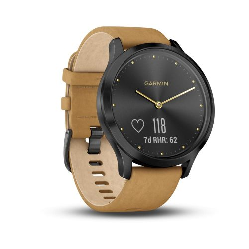 Garmin vivomove HR Premium Onyx Black/Tan Suede: Garmin Heart Rate Monitors