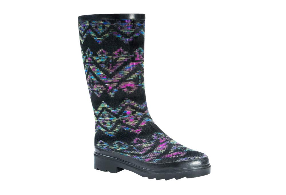 MUK LUKS Anabelle Rain Boots - Women's - geo space dye black, 9