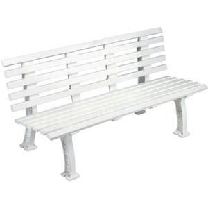 Unique 5' Polyethelene and PVC Bench with Back - White: Tourna Court Equipment