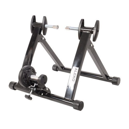 Aleko MBT01-UNB Portable Indoor Magnetic Bicycle Exercise Trainer Bike Stand with Noise Reduction Wheel Black