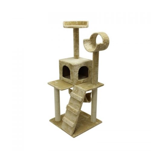 Aleko MP-07BE-UNB 47 in. Height Cat Tree Condo Scratching Post Cat Furniture Light Beige.