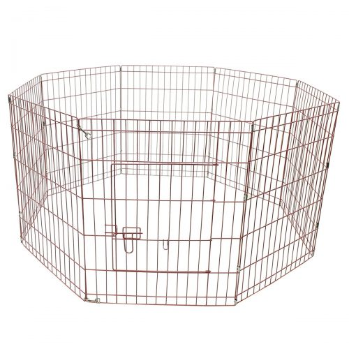 Aleko SDK-24P-UNB 24 in. 8 Panel Dog Playpen Pet Kennel Pen Exercise Cage Fence Pink