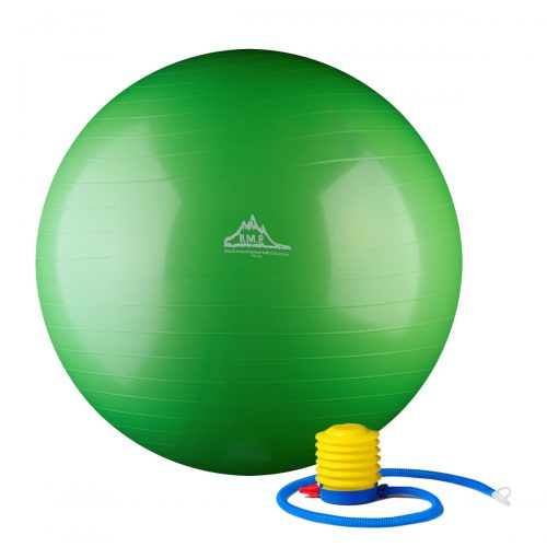 Black Mountain Products 55cm Green Gym Ball 55 cm Static Strength Exercise Stability Ball with Pump Green