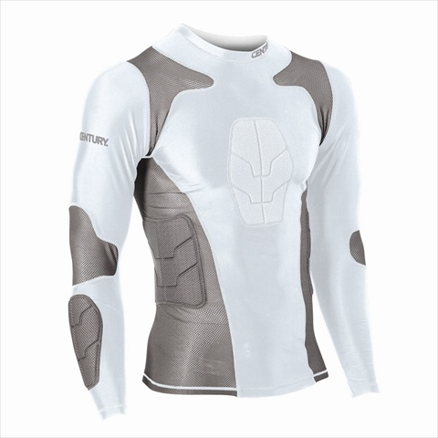Century 14244-100212 Padded Compression Shirt Long Sleeve - White Small