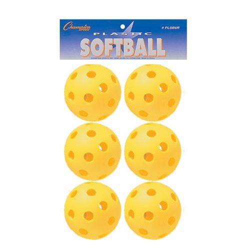 Champion Sports PLSB6R Plastic Softball Yellow - Set of 6