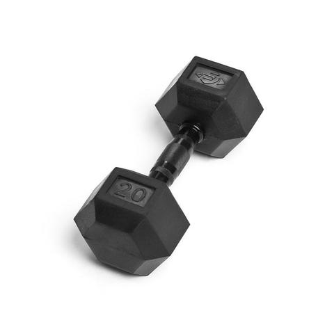 Element Fitness E-5057 Low Odor Virgin Rubber Commercial Hex Dumbbells - Black