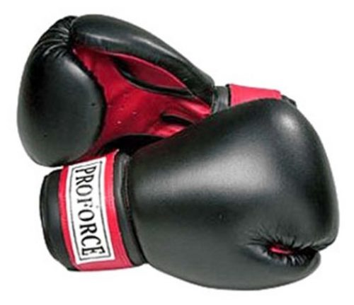 Gungfu 0956 16 oz Leatherette Boxing Gloves Black with Red Palms