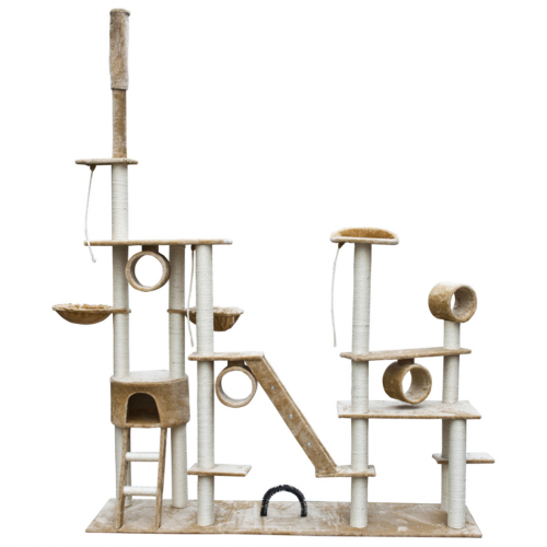 Online Gym Shop CB17637 Cat Tree Deluxe Plush Beige - 90 - 102 in.