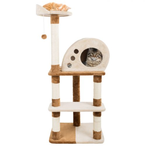 Petmaker M320261 47.5 in. 4 Tier Cat Tree Plush Multi-Level Cat Tower with Sisal Scratching Posts Perch Cat Condo & Hanging Toy for Cats & Kittens