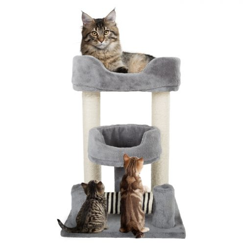 Petmaker M320262 23 in. 3 Tier Cat Tree Plush Multi-Level Cat Tower with Sisal Scratching Posts & Perch Style Beds for Cats & Kittens