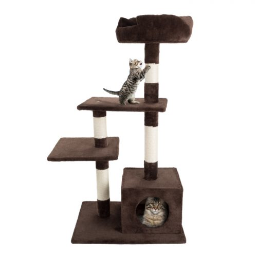 Petmaker M320263 43 in. 4 Tier Cat Tree Plush Multi-Level Cat Tower with Sisal Scratching Posts Perch Platforms & Penthouse Condo for Cats & Kittens
