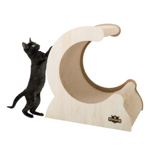 Petmaker M320268 Cat Scratching Post Wood & Cardboard Incline Vertical Scratcher Station for Kittens & Large Cats Furniture Scratch Deterrent