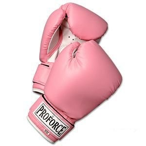 Pro Force 0986 16 oz Leatherette Boxing Gloves Pink with White Palms