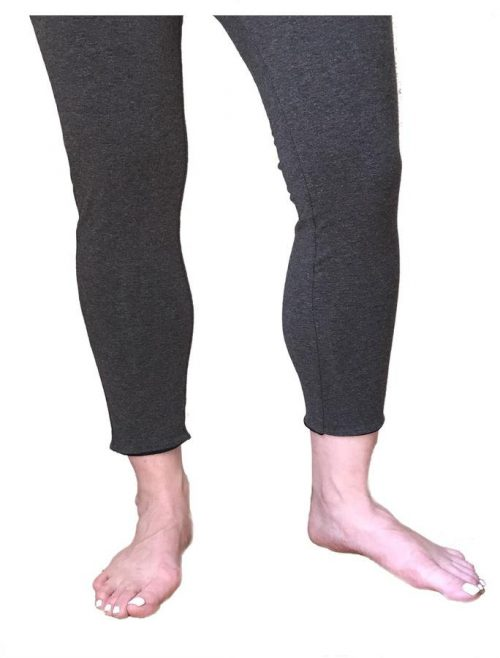 Reversible 755874005865 Womens Cropped Leggings - Black & Grey Extra Large