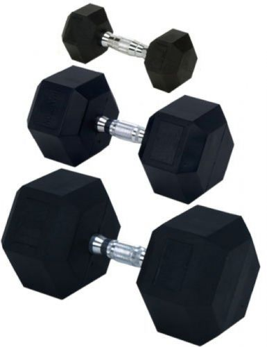 Rubber Encased Solid Hex Dumbbell 75 lbs