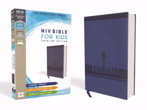 ZonderKidz 200428 NIV Bible for Kids Comfort Print Large Print - Blue Leathersoft