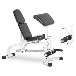 XMark FID Flat Incline Decline Weight Bench with Leg Extension and Preacher Curl XM-4419-WHITE