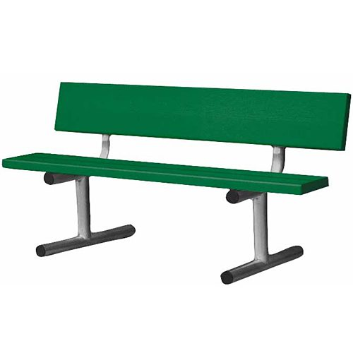 5' Aluminum Bench with Back - Green: RolDri Court Equipt