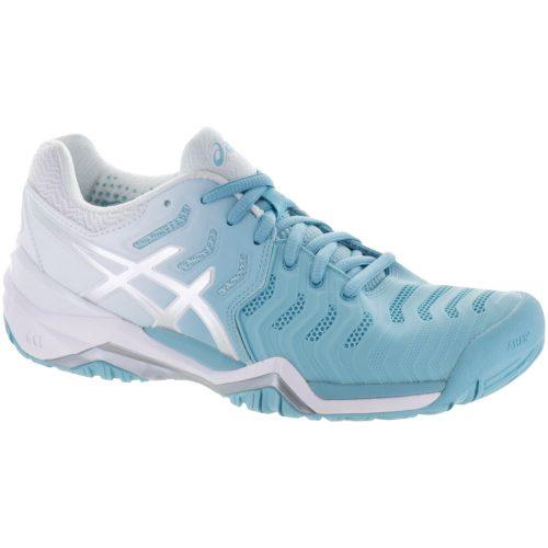 ASICS GEL-Resolution 7: ASICS Women's Tennis Shoes Porcelain Blue/Silver/White