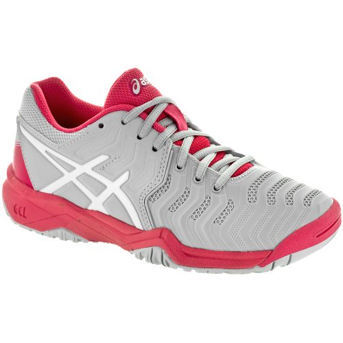 ASICS GEL-Resolution 7 Junior Glacier Grey/White/Rogue Red: ASICS Junior Tennis Shoes