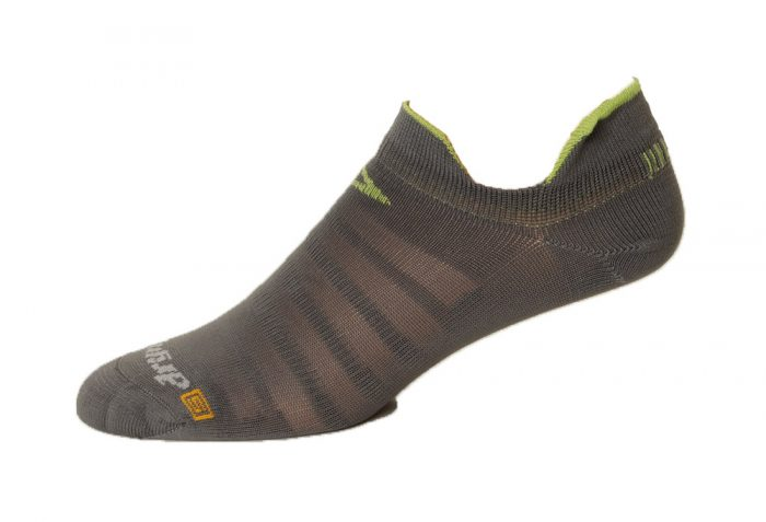 Drymax Running Hyper Thin No Show Double Tab Socks - anthracite/lime, x-large