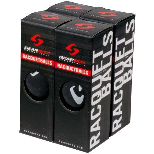 Gearbox Racquetballs 4 Boxes Of 3 Balls Sleek Black: Gearbox Racquetball Balls