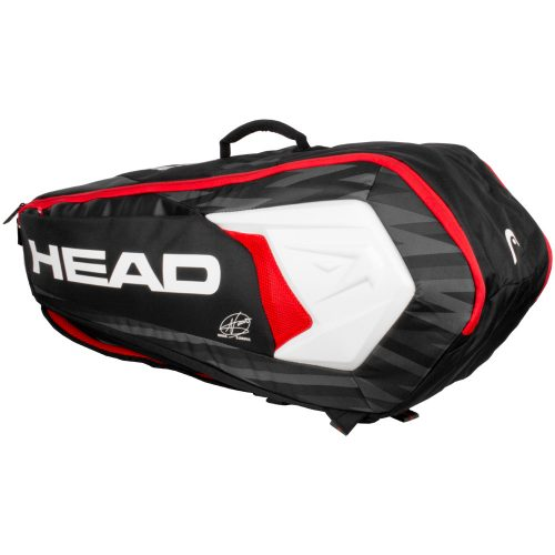 HEAD Djokovic 6 Racquet Combi Bag 2018 Black/White/Red: HEAD Tennis Bags