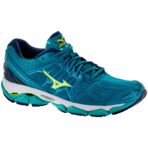 Mizuno Wave Horizon: Mizuno Women's Running Shoes Tile Blue/Safety Yellow/Peacoat